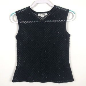 St.John Santana Knit Black Sequin Sheer Shell